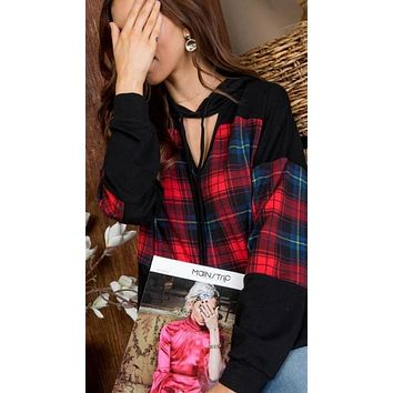 Plaid of the Year Dainty Bowtie Hoodie