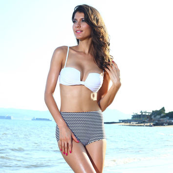 New Arrival Hot Swimsuit Beach Summer Sexy White Stripes High Rise Swimwear Bottom & Top Bikini [6033457729]