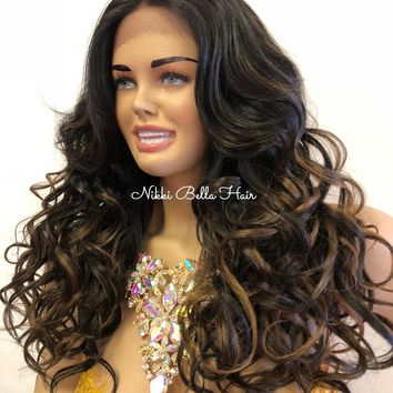 "Black Brown Balayage Lace Part Wig | 20"" Meri 918 11"
