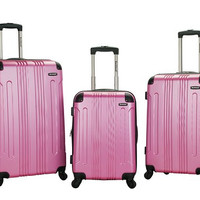 F190-PINK 3 Pc Sonic Abs Upright Luggage Set
