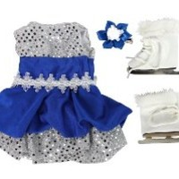 "Doll Clothes for 18"" Dolls: 3 Piece Ice Skating Outfit and Skates -""Dress Along Dolly"" (Includes Sparkly Ice Skating Skirt, Skates, and Hair Clip)"