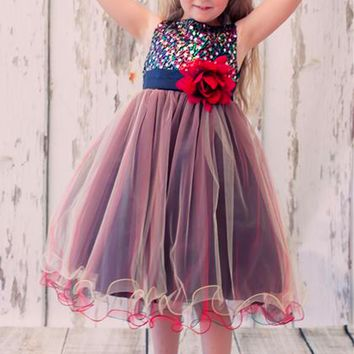 Red & Black Multi Color Sequins, Satin and 3 Layers of Tulle Occasion Dress (Girls Sizes 2T - 14)