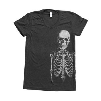 Skeleton Halloween Shirt Women Custom Hand Screen Printed on American Apparel Tri-Blend Short Sleeve Tshirt Available: S, M, L, Xl