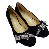 Adorable Feet Checkered Bow and Dazzling Beads Accent Black Ballet Flats Shoes