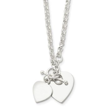 Sterling Silver 18 Inch Double Heart Toggle Necklace