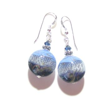 Murano Glass Blue Copper White Swirl Disc Silver Earrings