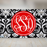 Damask Monogram-Monogrammed License Plate Black White Damask Red Initials Cute Auto Novelty Front Tag Car License Plate on Metal-691