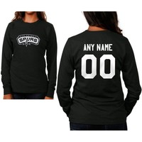 San Antonio Spurs Womens Custom Any Name & Number Long Sleeve T-Shirt