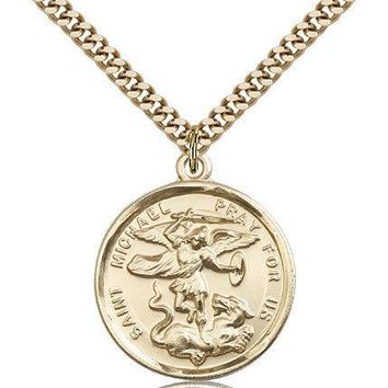 "Saint Michael The Archangel Medal For Men - Gold Filled Necklace On 24"" Chain... 617759800647"