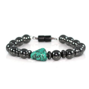 Men's Turquoise and Hematite Protection Bracelet