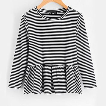 Black And White Ruffle Trim Striped Tee Women's Round Neck Three Quarter Length Sleeve Top Casual Shirt