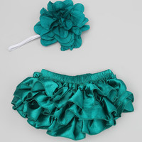 Chicaboo Teal Satin Ruffle Bloomers & Headband - Infant | zulily