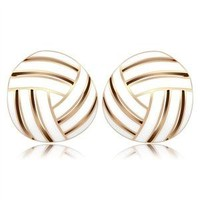 Ion Plated Rose Gold White Enamel Earrings