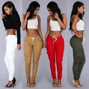 Summer Casual Multi Pocket Pants High Waist Shiny Pencil Pants Capris Women Trousers White Red Green Khaki #88011