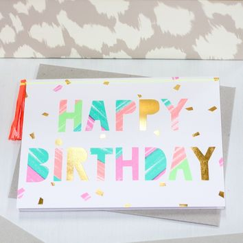 Happy Birthday Paint Strokes Card