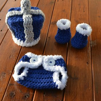 Royal Crochet Set Newborn Baby Photo Prop Set