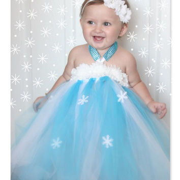 Frozen Inspired Snowflake Winter ONEderland Frozen Tutu Dress for Baby Girl Ice Princess Elsa 6-18 Months First Birthday