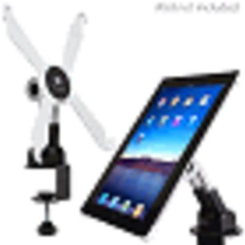 (10-Pack) Monoprice 11597 Adjustable Desk Mount Swivel Stand for iPad 2nd, 3rd & 4th Gen w/C-Clamp (White)