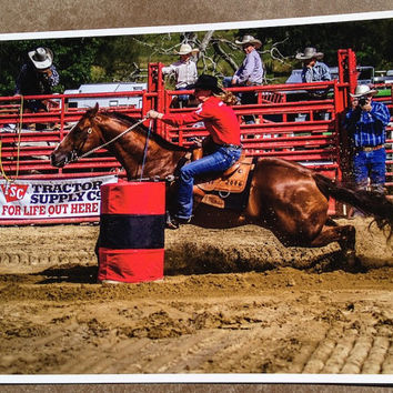 Female Barrel Racer Cowgirl Cowboy Western art, photographic print, horse rodeo, rodeo art