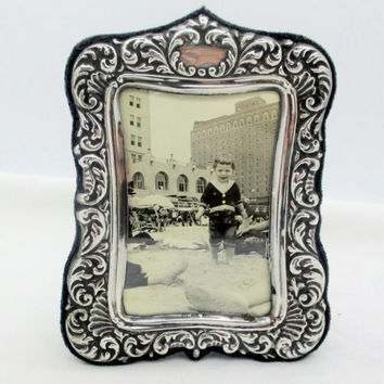 Vintage STERLING SILVER FRAME Art Nouveau Style Sterling Silver Picture Frame Florenz Italy 4x5