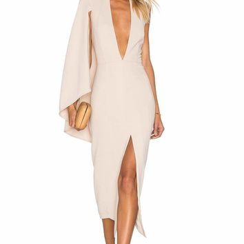 Veronica Blush Cape Bodycon Dress