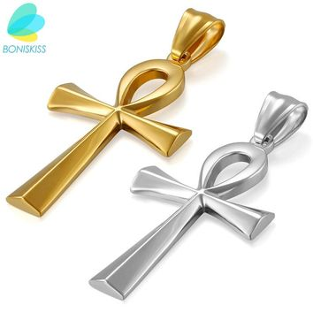 "Boniskiss Egyptian Ankh Gold Cross Necklace for Women Men Jewelry Stainless Steel Prayer Necklaces & Pendants Free 19.7"" Chain"