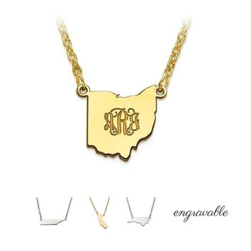 Sterling Silver Engravable State Pendant Necklace - 50 State Choices