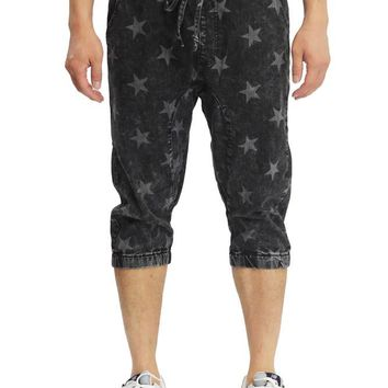 Men's Star Print Denim Jogger Shorts JC383 -I1D