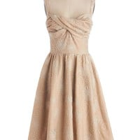 Stop Staring! Vintage Inspired Long Spaghetti Straps Fit & Flare Whimsical Waltz Dress