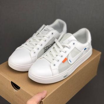 HCXX 19June 996 Nike Unisex Leather breathable mesh casual shoes perforated breathable tennis culture shoes white