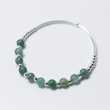 Real. 925 Sterling Silver Fine Jewelry Small Round Beads& 6MM Natural Emerald Jade Stone Chain Bracelet Charms GTLS514