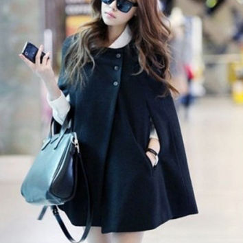 'The Ros' Black Woolen Coat