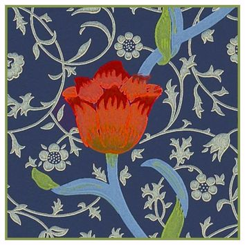 Medway detail 1 Red Tulip by William Morris Design Counted Cross Stitch or Counted Needlepoint Pattern