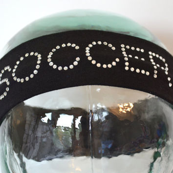 "Custom ""SOCCER"" Rhinestone Studded Stretch Headband"
