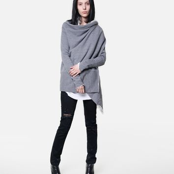 long sleeve wrap heather grey
