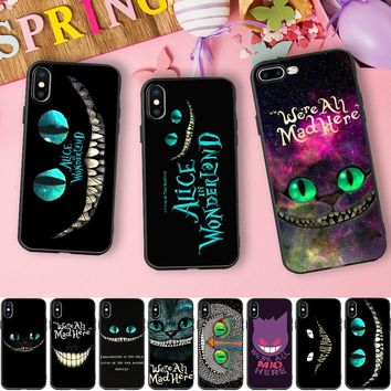 Minason We're All Mad Here Alice in Wonderland Cheshire Cat Soft Silicone Phone Case for iPhone X 5 S 5S 6 6S 7 8 Plus Cover