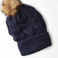 AEO Women's Pom-pom Cable Beanie (Navy)