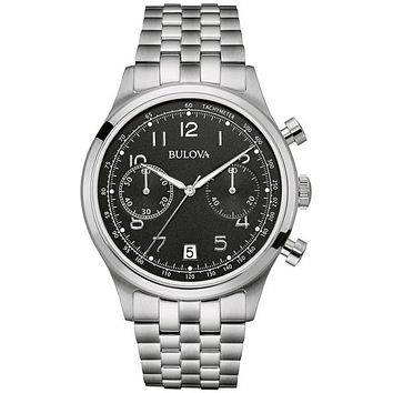 Bulova Mens Classic Chronograph - Steel Case and Bracelet - Black Dial - 43mm
