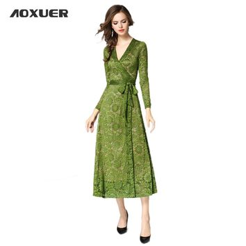Elegant Women New Green Lace Wrapped Long Dress Winter Sexy V Neck Lacing Fashion Slim Party