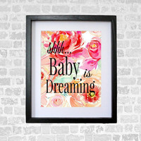 Baby Is Dreaming Nursery Art Digital Print Wall Art Print 8 x 10 INSTANT DOWNLOAD Nursery Decor  Watercolor Peonies Baby Shower Gift
