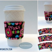 Peace Love Hearts Coffee Cup Cozy, Cold Drink Wrap, reusable, eco-friendly