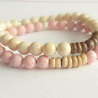 Pink Riverstone Beaded Bracelet with Natural Coconut Shell // Bohemian Jewelry // Earthy // Natural