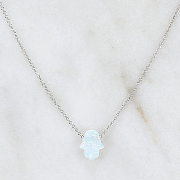 White Synthetic Opal Small Hamsa Necklace