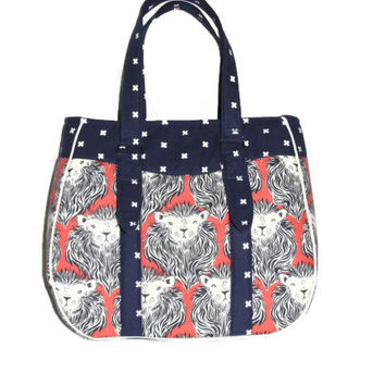 Evelyn Handbag, RTS, Great Handmade Gift, Cotton + Steel Orange August Lions and Navy Blue XOXO lining, Elbow Bag, Blue, Swoon Purse