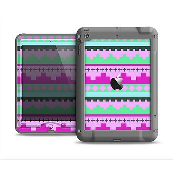 The Lime Green & Purple Tribal Ethic Geometric Pattern Apple iPad Mini LifeProof Nuud Case Skin Set