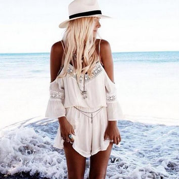 Boho Women Beach Mini White Dress