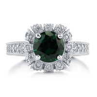 Sterling Silver Round Simulated Emerald CZ Crown Halo Ring 2.43 ct.tw2 Review(s) | Write A ReviewSKU# R784-EM