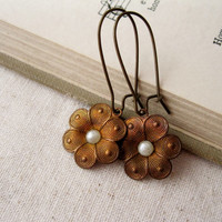 Daisy Earrings. Patina Flowers with Vintage Glass Pearl Centres. Antiqued brass. Rustic Jewellery
