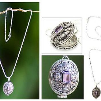 Women's Sterling Silver and Amethyst Locket Necklace - Cherished | NOVICA