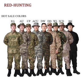 Outdoor Black Camouflage Men Clothes Tactical Military Uniform Clothing Army Combat Men's Jacket+Pants Hunt Clothes